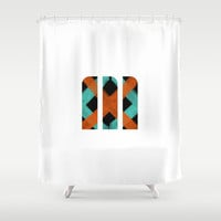 M Crisscross Shower Curtain by Matt Irving