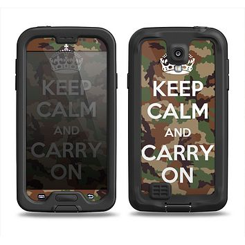 The Keep Calm & Carry On Camouflage Samsung Galaxy S4 LifeProof Nuud Case Skin Set