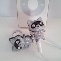 Little Silver Glitter Racoon Earbuds With swarovski crystals