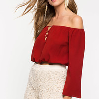 Lace Up Off Shoulder Top