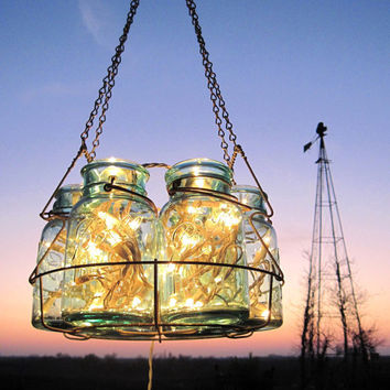 Antique Lights Mason Jar Chandelier 6 Blue QUART Ball Canning Jar Basket, Upcycled Hanging Mason Jar Lighting,Weddings Nights Garden Party