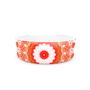 "Iris Lehnhardt ""Mandala I"" Red Orange Pet Bowl"