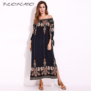 Boho Women Long Dress Elegant Vintage Flower Print Sexy Shift Dress Long Tie Sleeve Bardot Off Shoulder Casual Party Maxi Dress