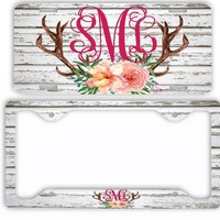 White Wood License Plate Antlers Flowers License Plate Car Tag Monogram Frame Personalized Set Custom Initials Car Coasters Floral