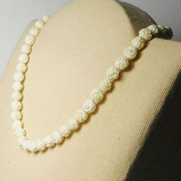 Carved Rosette Beaded Choker Necklace Vintage Beige Bone Ivory Color Beads Strung on Cord 15 1/2 Inch Rose Beads Barrel Clasp