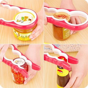 4 In 1 Gourd-shaped Can Opener Multi Purpose Screw Cap Jar Openers Bottle Lid Grip Wrench Kitchen Accessories
