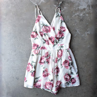 open back soft romantic floral romper - cream