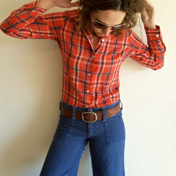 Vintage Cowboy Orange Plaid Western Button Up Shirt