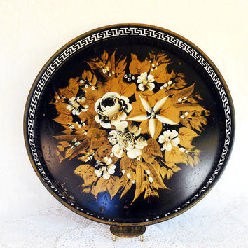 Large Round Vintage Black Gold 18 in Tole Ware Tray, Shabby Chic Rose Hand Painted Tole Tray,Reticulated Sides,Mid Century,Metal Tole Roses