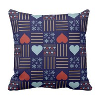 Colorful Holiday Quilted hearts/snowflakes on blue Pillows
