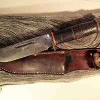 Cattaraugus 225Q Combat Knife Quartermaster WWII Special Forces knife in original leather sheath. Militaria collectible