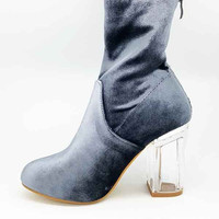 Velvet Underground Ankle Boot with Clear Heel