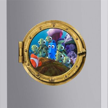 find dory nemo colorful under sea fish submarine portholes wall stickers room decor diy peel and stick 3d window wall decals art