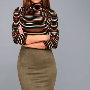 Superpower Olive Green Suede Pencil Skirt