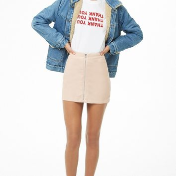Faux Leather Zip-Front Mini Skirt