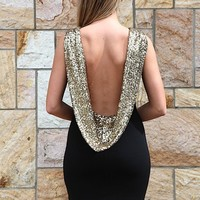 Black Gold Sequin Scoop Back Sleeveless Dress