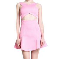Sleeveless Cross Strap Cut-out Dress
