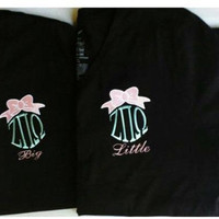 Custom Preppy Monogrammed Vneck with Bow. Includes Gree k Letters or Initials. Sorority- Gift