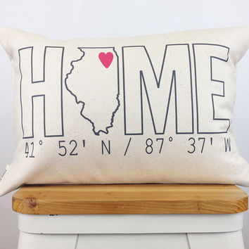 "Personalized ""HOME"" Coordinates Pillow"