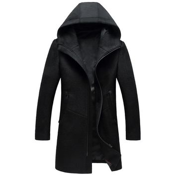 BFSBOYS Long Hooded Wool Coat Men 2017 Brand Design Zipper Peacoat Men Winter Wool & Blends Overcoat Fashion Manteau Homme M-3XL