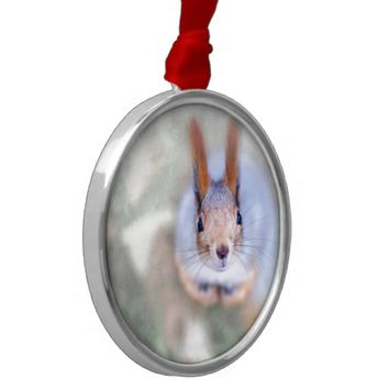 Squirrel looks at you from the bottom up metal ornament