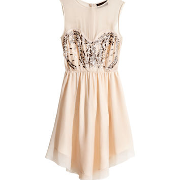 H&M - Sleeveless Dress - Powder beige - Ladies