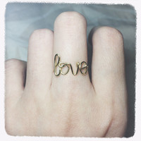 Christmas Sale!Coupon Code 20OFF! handmade Love ring Wire wrap love ring jewelry Adjustable Gold love ring Love knuckle Gold love mid ring