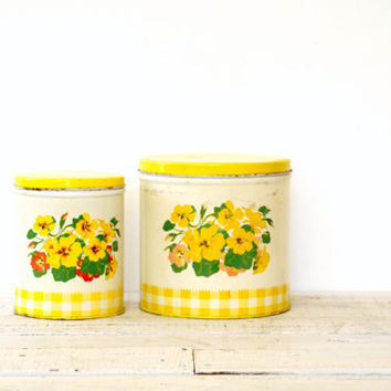 Kitchen Canister Set - Metal Floral