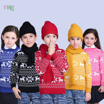 New Winter Children Boys Girls Sweater Knited Wool Kids Sweaters Teenage Baby Kids Outwear Warm Christmas Style Clothes 1-12Year