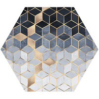 Soft Blue Gradient Cubes Hex Wall Decal