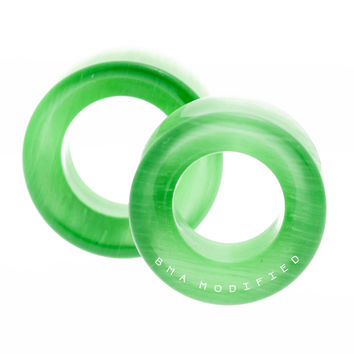 Clover Green Cat's Eye Glass Tunnels Plugs (3mm-20mm)