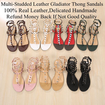 Hot Fashion Luxury Vogue Casual Shoes Metal Studded Shoes Rivets Flats Sandal Flip Flops Women Gladiator Sandals Plus Size 34-43