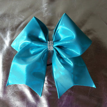 3 inch cheer bow  Tiffany blue with by DazzlingBowsAndBling