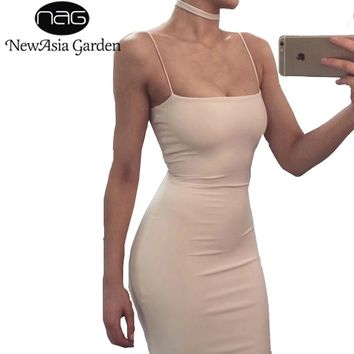 NewAsia Garden Sexy Double Layered Sleeveless Cotton Bodycon Dress Summer Basic Tank Sheath Party Club Bandage Dresses Vestidos