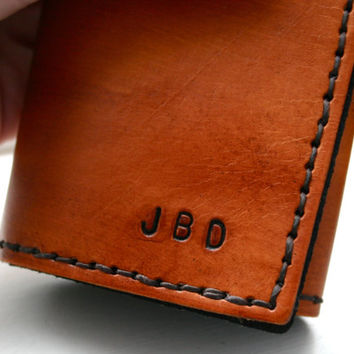Tri-Fold Wallet. Personalized Mens brown tri-fold leather wallet with monogram initials