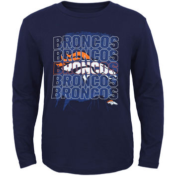 Youth Denver Broncos Navy Blue Fading Stacker Long Sleeve T-Shirt