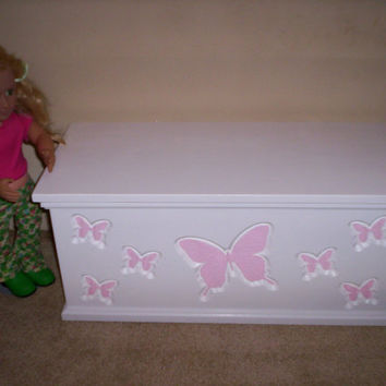 Doll storage chest trunk furniture handcrafted for American girl doll pink butterfly design