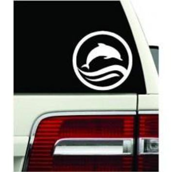 Dolphin Jumping Sticker Beach Salt Waves Car Window Vinyl Decal