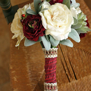 Burgundy and Cream Rustic Succulents Wedding Bouquet