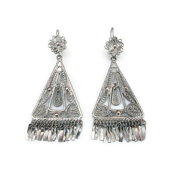 Silver Filigree Earrings, Middle Eastern, Moroccan Style, Dangle Earrings, Fringe, Boho, Silver Jewelry, Vintage Earrings, Vintage Jewelry