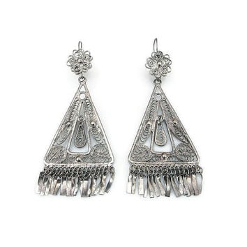 Silver Filigree Earrings Middle Eastern Moroccan Style Dangle