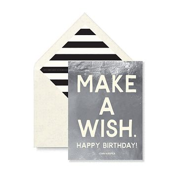 Make A Wish Happy Birthday Greeting Card, Single Folded Card