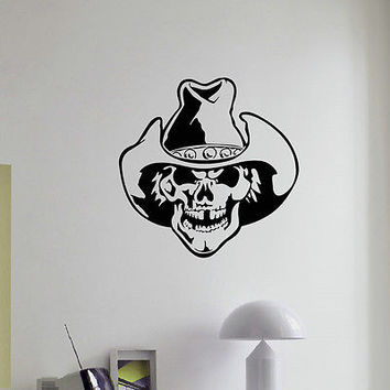 WALL DECAL VINYL STICKER ANIMAL PEOPLE COWBOY SKULL DECOR SB947