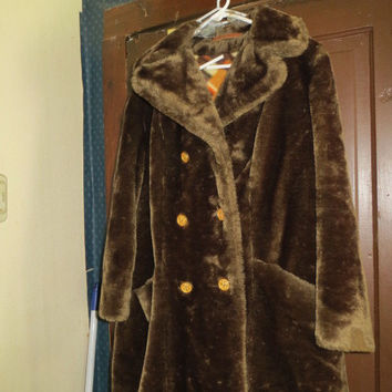 1960 Sears FASHIONS    chocolate brown fauf fur double breasted style coat
