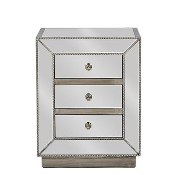 Baxton Studio Currin Contemporary Mirrored 3-Drawer Nightstand Set of 1