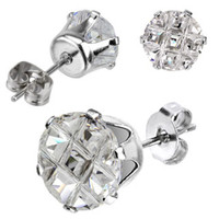 Spikes Stainless Steel Multi Faceted Round Grid Gem Stud Earrings | Body Candy Body Jewelry