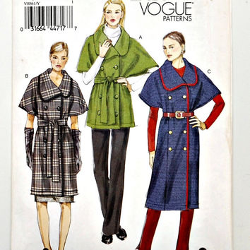 Very Easy Vogue Patterns V8861 (c.2012) Women's Size Extra Small, Small & Medium, Fashion Jackets With Belt, Vogue Fashion, Easy Sewing