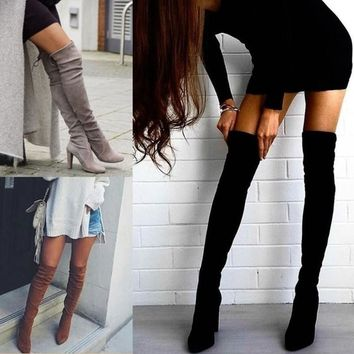 Pointed Toe Suede Solid High Chunky Heels Over-knee Long Boots