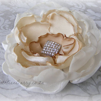 R300 Ombre Flower hair accessory bridal - Jewelled hair piece or brooch