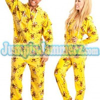 Crazy Monkeys - Hooded Footed Pajamas - Pajamas Footie PJs Onesuits One Piece Adult Pajamas - JumpinJammerz.com